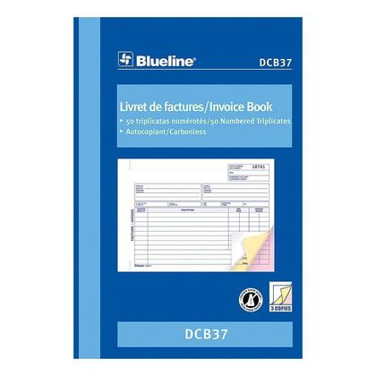 Blueline@ Blank Invoice Book Carbonless Copy - triplicate,5-3/8 x 8