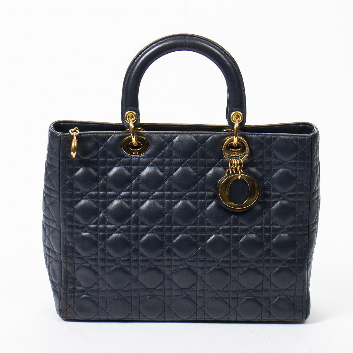 Dior Lady Dior Handtasche in  Blau Leder