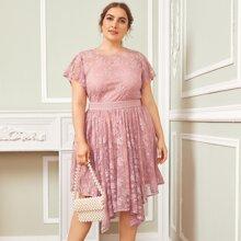 Plus Flutter Sleeve Hanky Hem Embroidered Mesh Overlay Dress