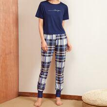 Slogan Graphic Tee & Plaid Print Pants PJ Set