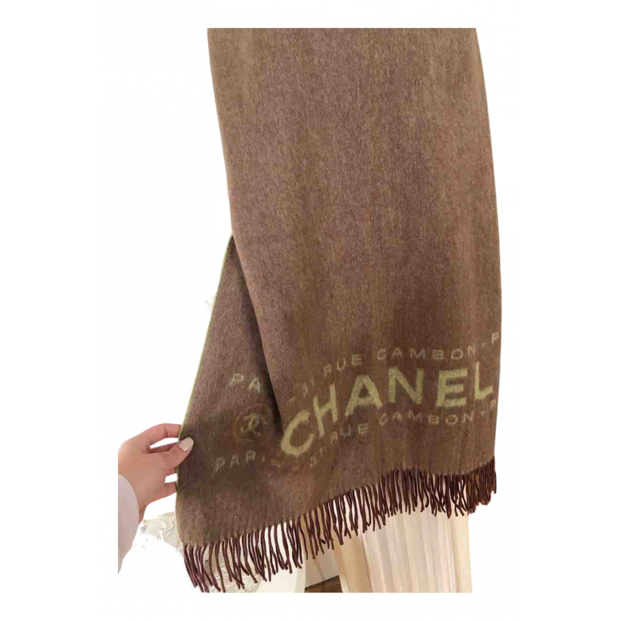 Chanel - Foulard   pour femme en cachemire - marron