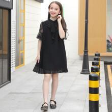 Girls Lace Panel Ruffle Trim Chiffon Dress