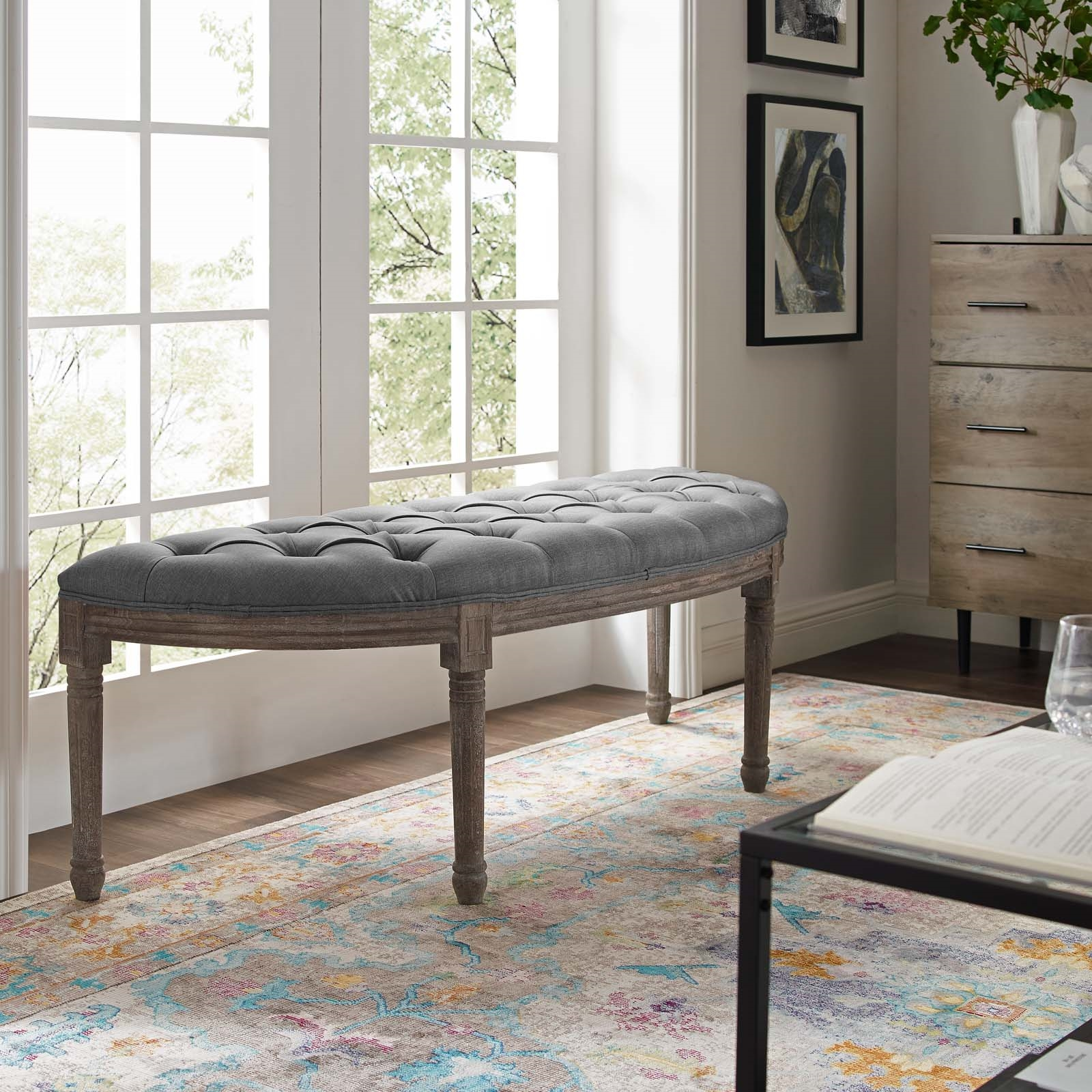 Esteem Vintage French Upholstered Fabric Semi-Circle Bench in Light Gray