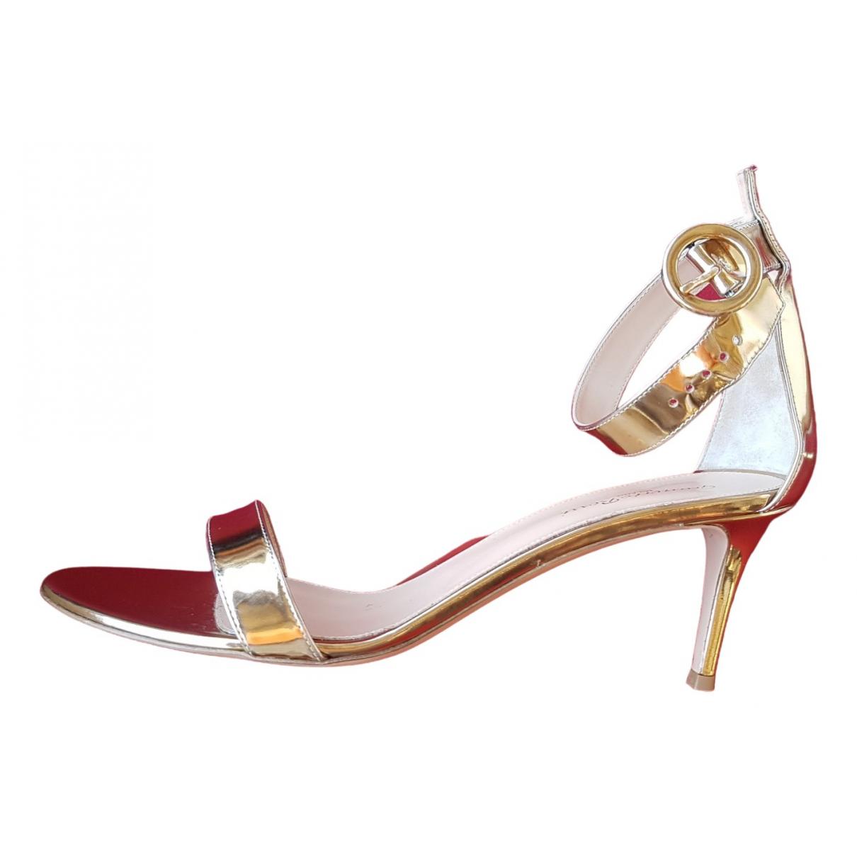 Gianvito Rossi Portofino Gold Leather Sandals for Women 42 EU