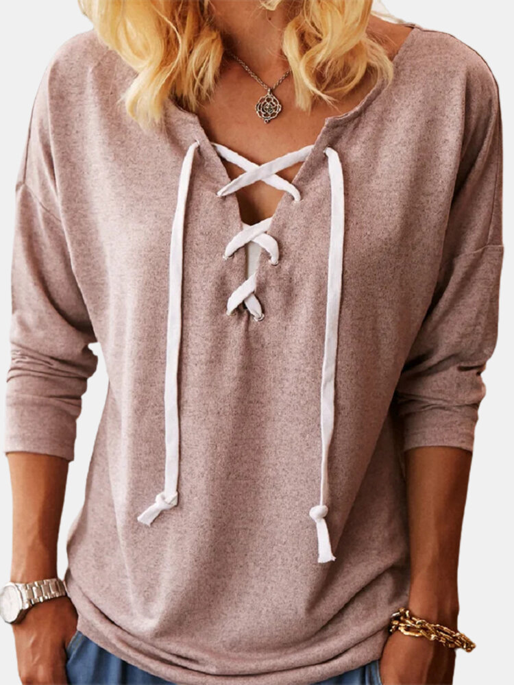 Bowknot Long Sleeve V-neck Solid Color Plus Size T-shirt