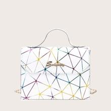 Geometric Graphic Flap Satchel Bag
