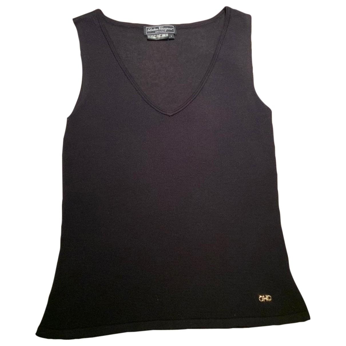 Salvatore Ferragamo - Top   pour femme en coton - noir