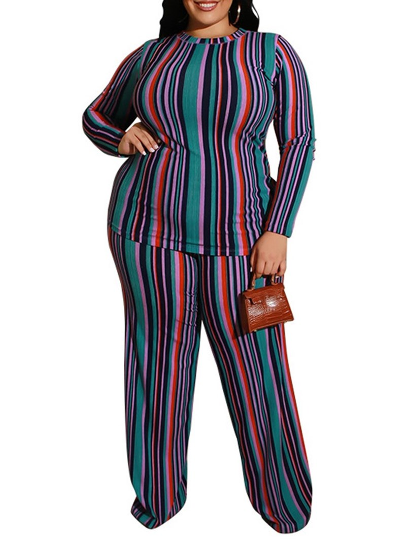 Ericdress Plus Size Print Casual Round Neck Wide Legs Two Piece Sets