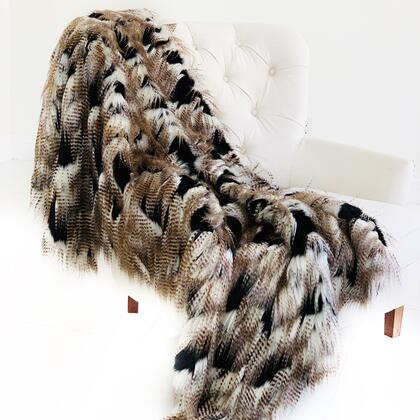 Rococo Collection PBSF1509-3660-TC 36W x 60L Black and Gold Fancy Plush Handmade Luxury Faux Fur