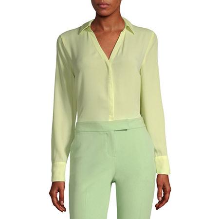 Worthington Long Sleeve Soft Blouse - Tall, Medium Tall , Green