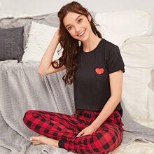 Vielfarbig Gingham Suess Pyjama Sets