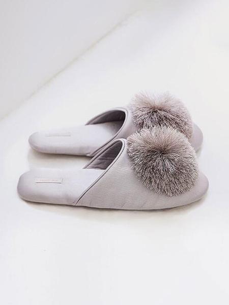 Milanoo Boa Slippers Light Grey Satin Upper Round Toe Cotton Lining Intdoor Door Home Slippers