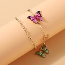 Mehrschichtige Fusskette mit Schmetterling Dekor