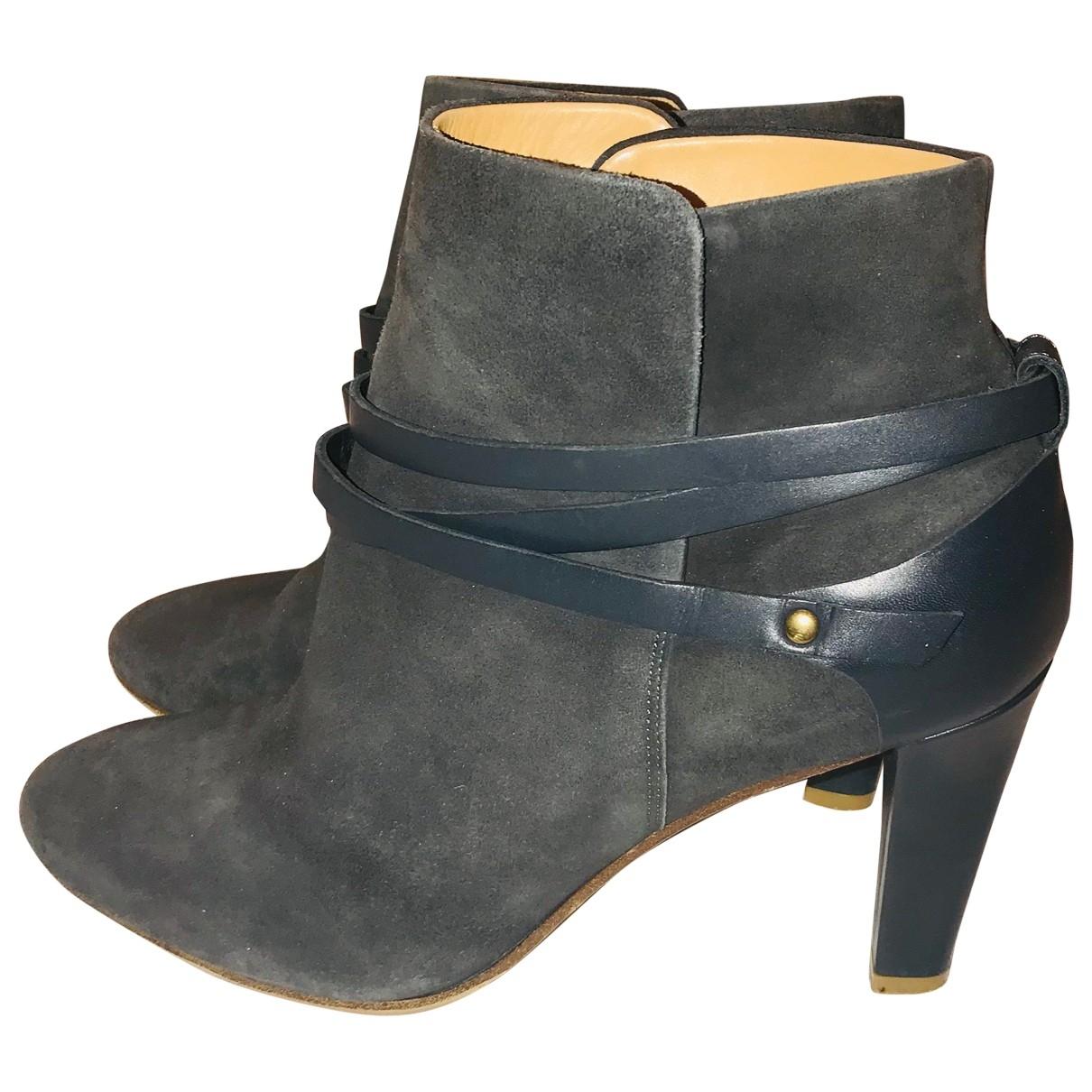 Sezane - Boots   pour femme en suede - gris