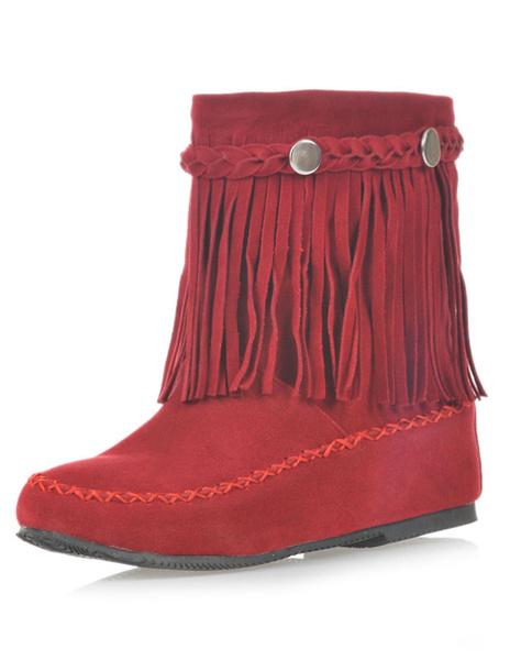 Milanoo Women's Bohemian Booties Fringe Round Toe Flat Cowgirl Short Boots