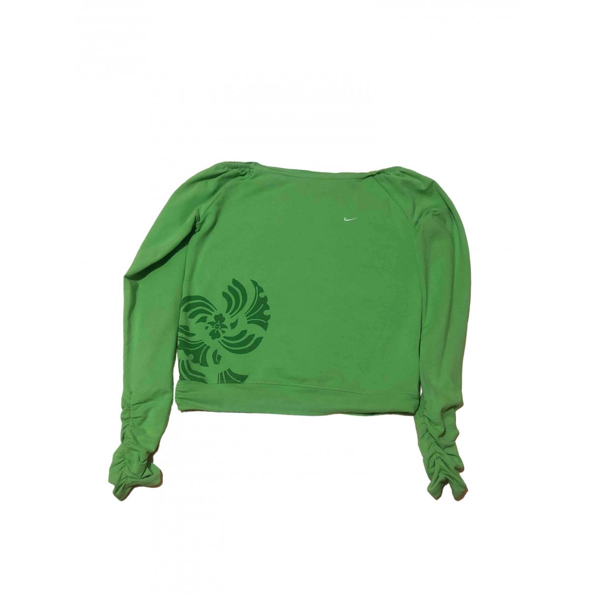 Nike - Pull   pour femme en coton - vert