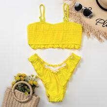 Smocked Frill Trim Bikini Swimsuit