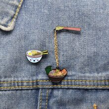 2pcs Noodle & Bowl Design Brooch