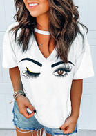Eyebrow Hollow Out V-Neck T-Shirt Tee - White