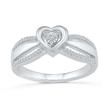 Promise My Love Womens 1/10 CT. T.W. Genuine White Diamond Sterling Silver Heart Promise Ring, 9 , No Color Family