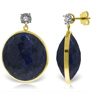 14K Solid Gold Diamonds Stud Earrings w/ Dangling Round Cut Sapphires (Yellow)