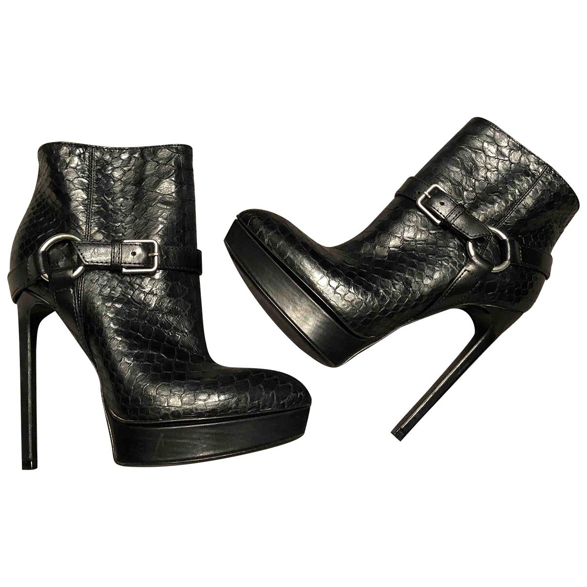 Saint Laurent - Boots   pour femme en python - noir