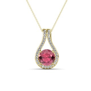 TriJewels Gemstone Diamond Accent Teardrop Pendent Necklace 14K Gold (Rhodolite Garnet - Yellow)
