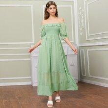 Vestidos Volante Liso Menta Verde Romantico