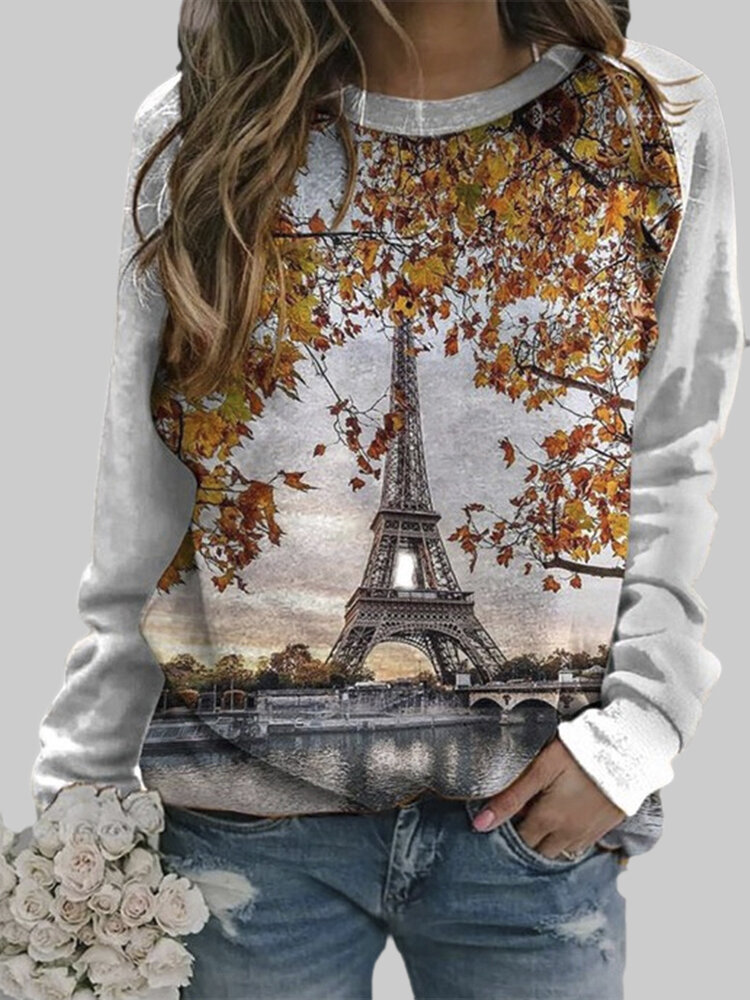 Landscape Print Patchwork Casual Long Sleeve Sweatshirt For Women