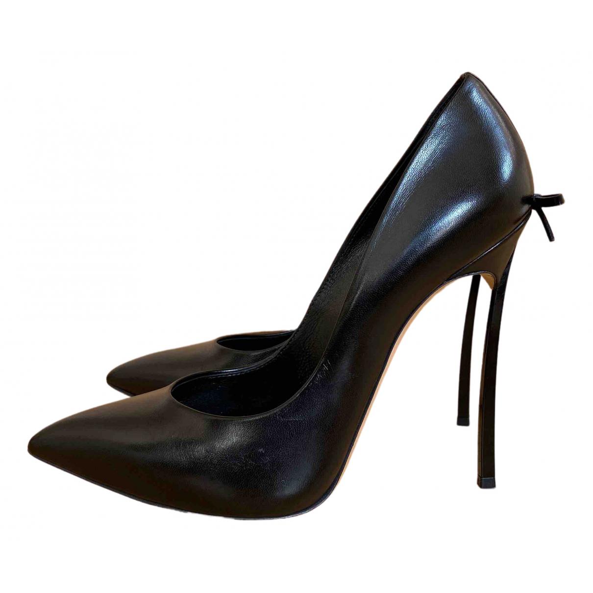 Casadei - Escarpins   pour femme en cuir - noir