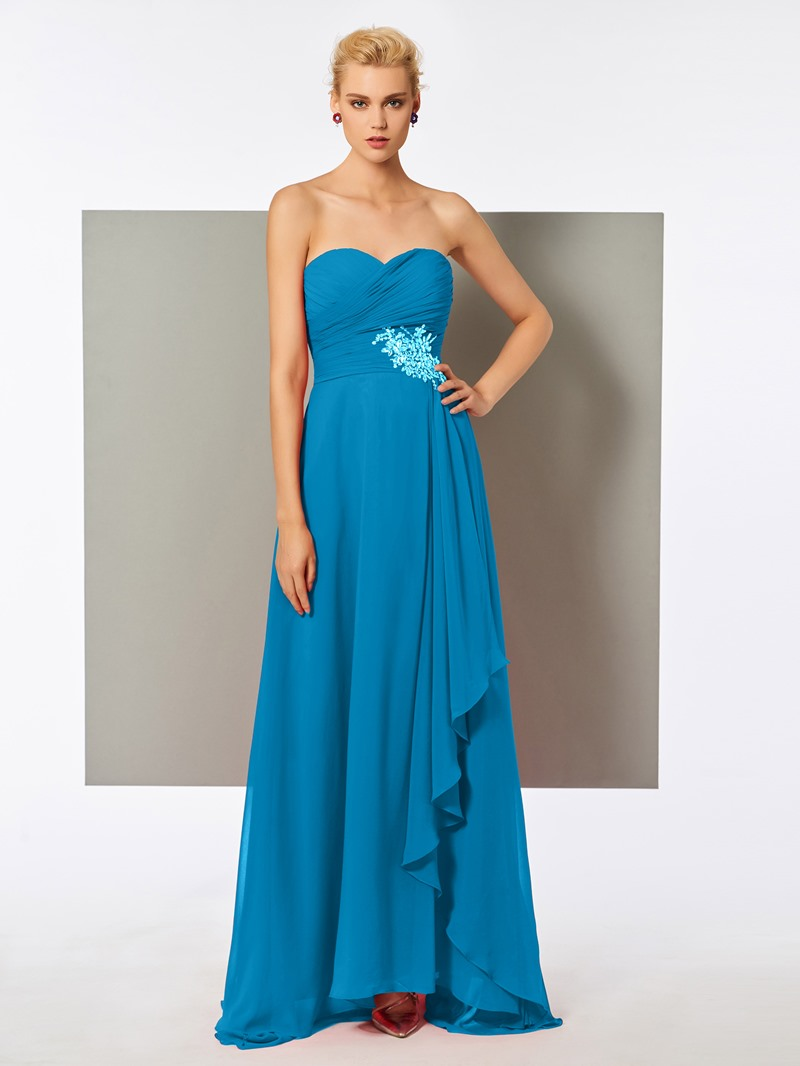 Ericdress A Line Sweetheart Beaded Pleats Long Evening Dress