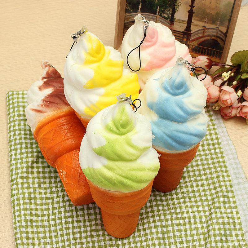 Squishy Jumbo Ice Cream Cone 17cm Slow Rising Soft Collection Decor Gift Phone Bag Strap