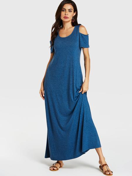 YOINS Blue Cold Shoulder Short Sleeves Dress