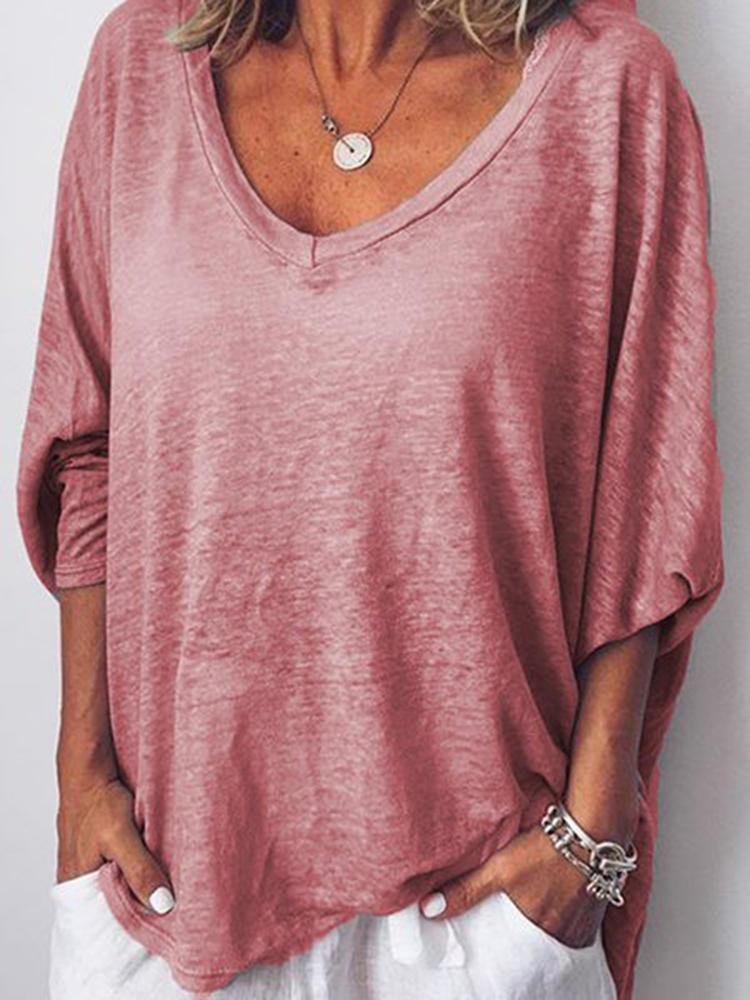Women Loose V-neck Batwing Sleeve Casual T-shirts
