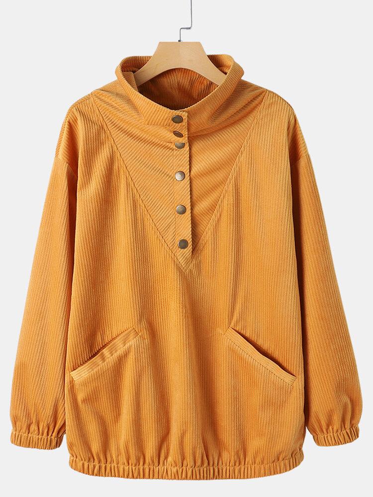 Vintage Corduroy Pockets Half Open Stand Collar Women Shirt