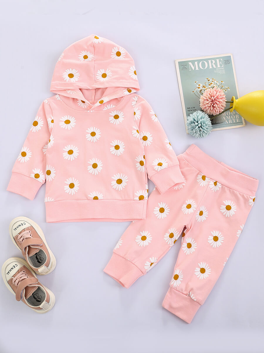 LW Lovely Casual Hooded Collar Floral Print Pink Girl Two-piece Pants Set