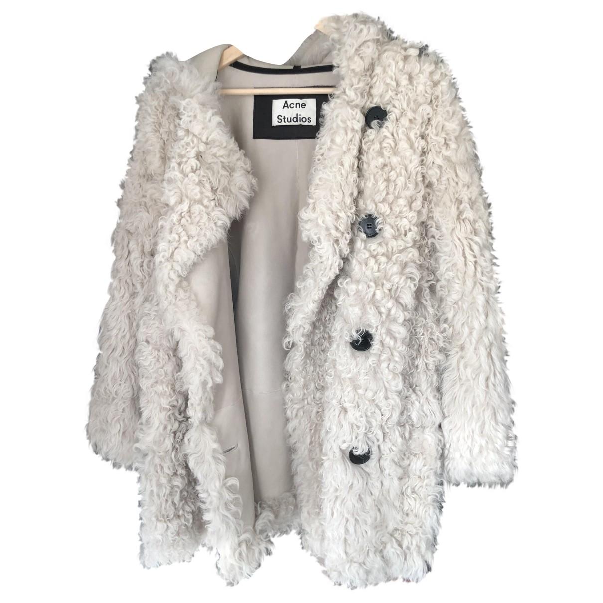 Acne Studios - Manteau   pour femme en agneau de mongolie - blanc