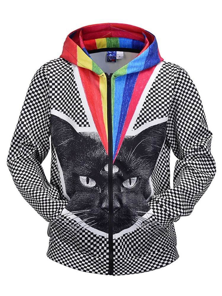 Soft Long Sleeve Rainfall and Black Cat Painted Casual Zippered 3D Painted Hoodies