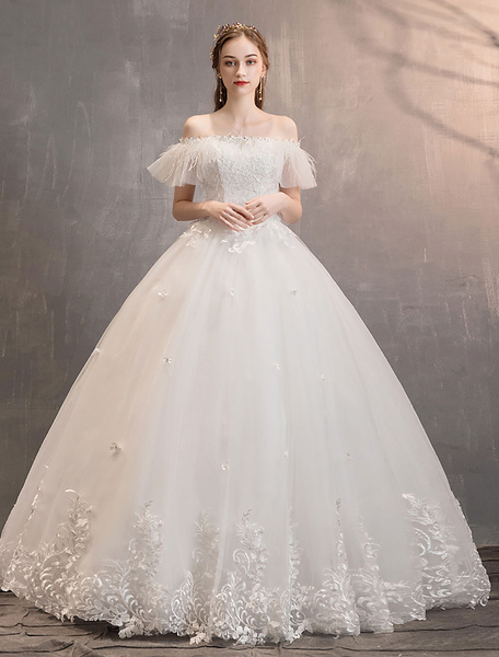Milanoo Tulle Wedding Dresses Ivory Off The Shoulder Lace Applique Princess Bridal Gown