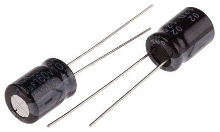 RS PRO 10μF Electrolytic Capacitor 160V dc, Through Hole (25)