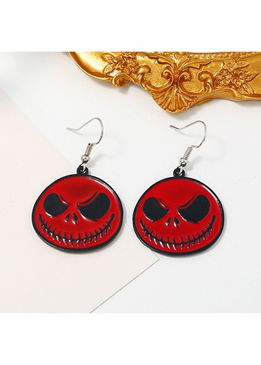 Mother's Day Gifts Red Halloween Ghost Metal Earring Set - One Size