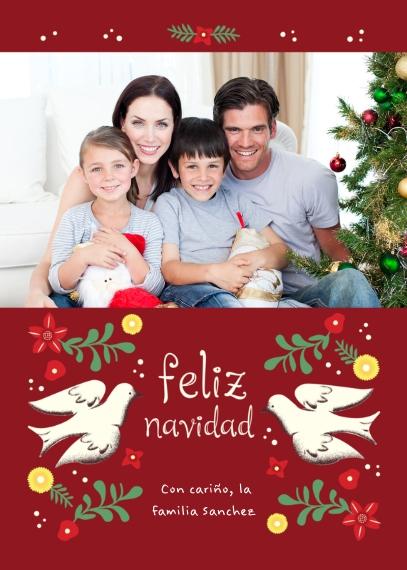 Tarjetas de Navidad Mail-for-Me Premium 5x7 Folded Card , Card & Stationery -Feliz Navidad Doves