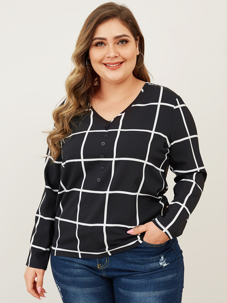Yoins Plus Size V-neck Long Sleeves Grid Tee