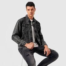 Men Button Front Denim Jacket