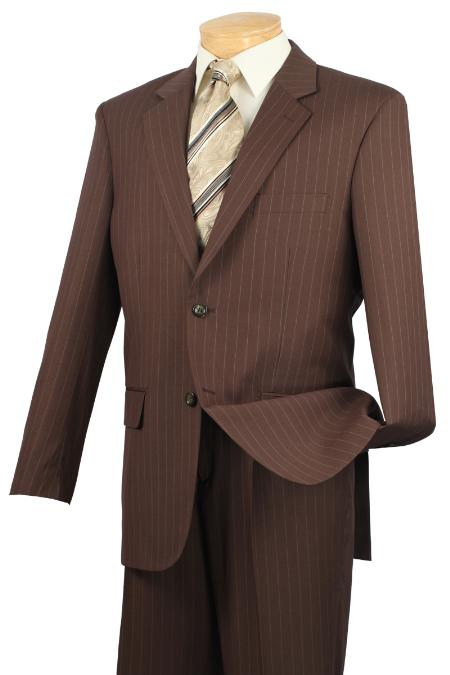 Notch Collar Pleated Pants Executive Classic Pin Stripe Toffee Suit