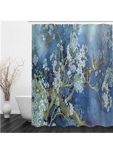 Oil Painting Flower Tree and Birds 3D Printed Bathroom Waterproof Shower Curtain