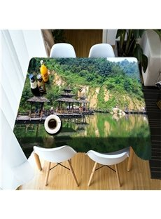 3D Wooden Pavilions and Green Mountains Printed Oil-Proof Table Cover