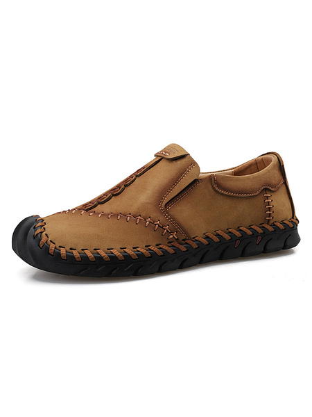 Milanoo Mens Loafers Shoes Comfy PU Leather Slip-On Shoes