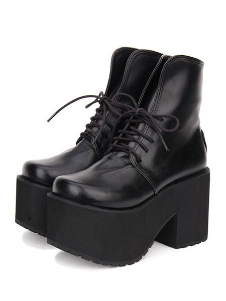 Milanoo Gothic Lolita Boots Lace Up Platform PU Black Lolita Mid Calf Boots
