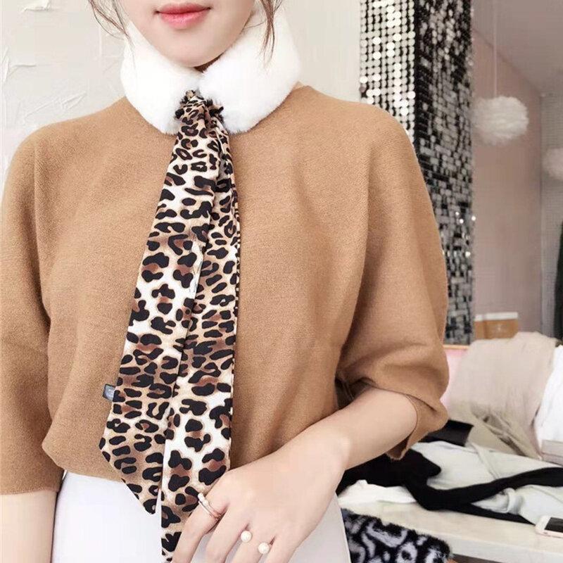 Women Wild Leopard Bow Imitation Wool Collar Fur Fight Ribbon Scarf Casual Outdoor Neck Warmer
